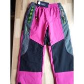 Kalhoty dívčí šusťákové teplé růžové se zelenými prvky - 146